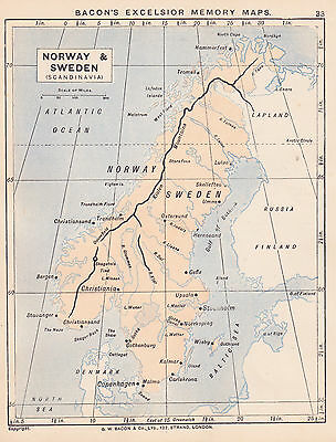 1895 Antique Map of Sweden & Norway/The North Sea (2 maps on 1 sheet)