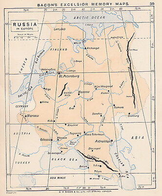 1895 Antique Map of Russia