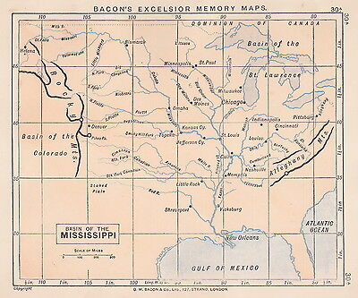 1895 Antique Map of the Mississippi River Basin