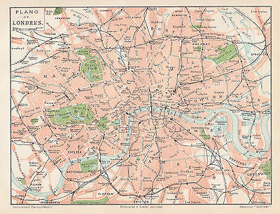 1912 Antique Map of London, England