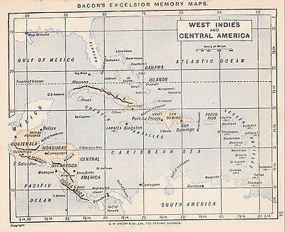 1895 Antique Map of the World / the Caribbean (2 maps on 1 sheet)