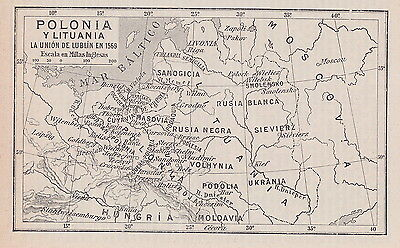 1955 Antique Map of Poland in 1569