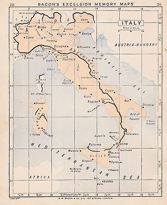 1895 Antique Map of Italy