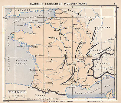 1895 Antique Map of France
