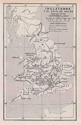 1955 Antique Map of England & Wales