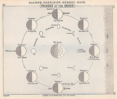 1895 Antique Chart of Moon Phases / Solar System (2 maps on 1 sheet)
