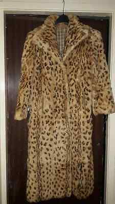 Real Soft Leopard Print Rabbit Cony Fur Coat Jacket Vintage 10 12 14 Medium Long