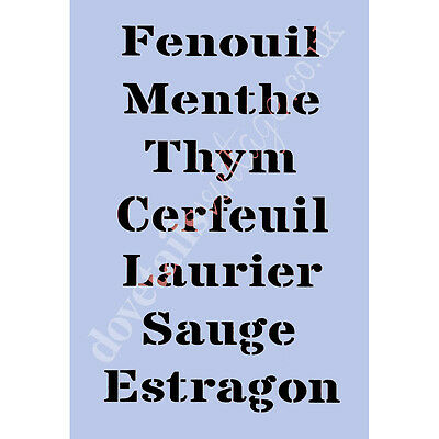 Seven french herbs Stencil A4 Re-Usable Shabby Chic Airbrush French 017 BOX