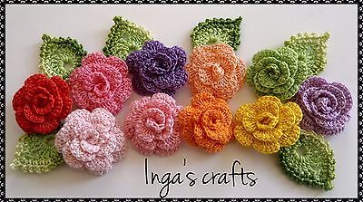 hand crocheted flowers and leaves