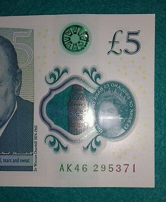 Ak46 Bank Of England Polymer £5 Five Pound Genuine New Note.