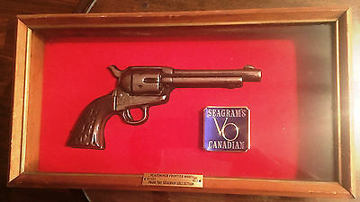 Vintage Seagram's Colt Peacemaker Frontier 45 1873 Replica Redwood Shadow Box