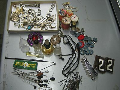 ANTIQUE VINTAGE LADIES JUNK DRAWER LOT perfume bottles buttons hat pins and more