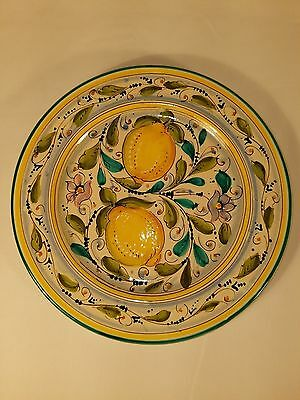 """Hand Painted 11"""" Plate with Lemons By Clara, Florence Italy"""
