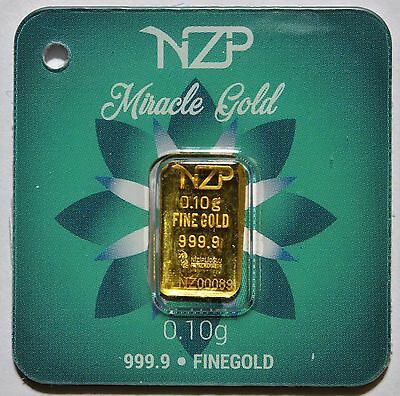 0.10 Gram 24K 999.9/1000 Pure Solid Gold NZP Bullion LBMA Sealed & Serial Number
