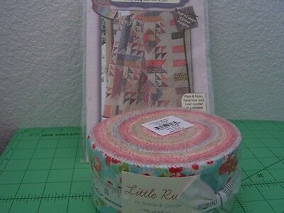 """Moda~ Little Ruby Jelly Roll~ Bonnie & Camille ~ 40 2.5"""" Quilting Kit + Pattern"""