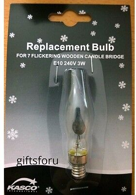 Wooden Candle Bridge Arch Light Flickering Bulb 240V 3W E10 Spare Replacement