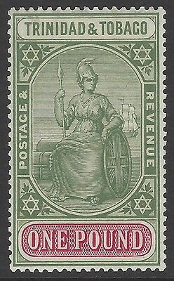 TRINIDAD & TOBAGO 1914 £1 pound grey-green & carm. top value, mint MVLH, SG#156