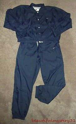 NIKE VTG 90s NAVY BLUE NYLON PANTS SNAP BUTTON JACKET 2 PC TRACKSUIT L 12-14