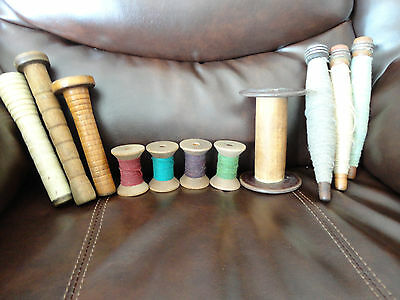 Vintage Lot of 11 Wooden Spools With Thread And Sewing Tall Spindles Free Ship