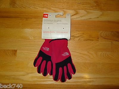New Girls North Face Denali Gloves Fleece Razzle Pink & Black Medium NWT