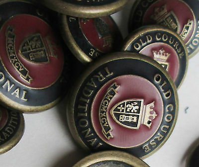Old course tradition ,blackv& burgundy 10 Metal Button set for Blazer or suit