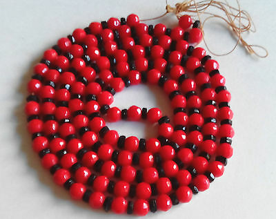 Antique Victorian Faceted Hand Cut Black Red Czech Glass  Necklace Brillant !!
