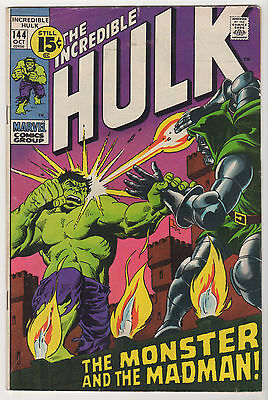 incredible HULK #144 FN+ marvel Oct 1971 Doctor Doom Dick Ayers John Severin