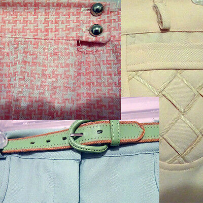 Lot of 3 Pastel Retro Vintage Polyester Pants Peach Houndstooth Seafoam Green