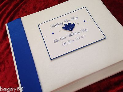 "Personalised Wedding Photo Album Boxed Large will hold 40 photos in 5""x7"" Royal"