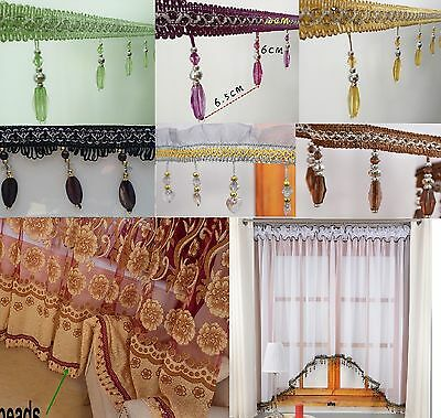 Beaded Tassel Fringe Trim For Curtains Valance Voile Swags Lampshade Tie Back