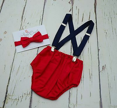 Red Cake smash outfit for boy,Handmade 1st Birthday Outfit