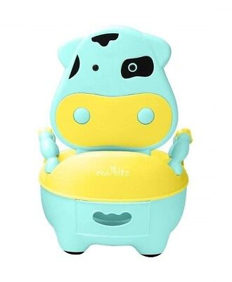 Kids Toddler Colorful Cozy Cow Baby Toilet Potty Training Seat LightBlue-Yellow