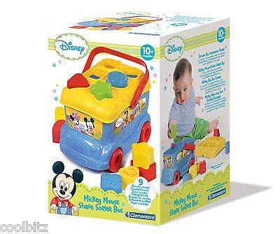 Bus Shape Sorter Sorting Fun Push Along Activity Toy 12 months+ Mickey Mouse