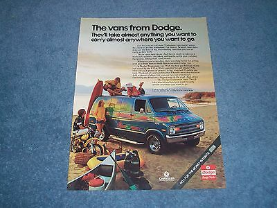 """1975 Dodge Tradesman Vans Vintage Ad """"They'll Take Almost Anything You Want..."""""""