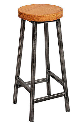 Chunky Oak Industrial Bar Stool 'Baldrick'