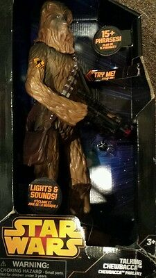 "NEW Star Wars Chewbacca Action Figure Talking Lights Sounds 15.5"" Disney Store"
