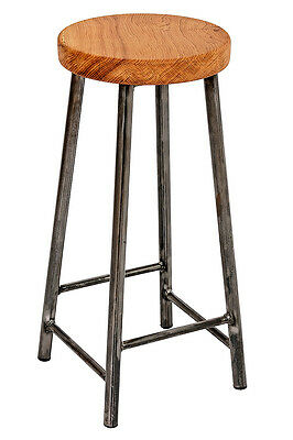 Chunky Oak Industrial Bar Stool 'Chad'