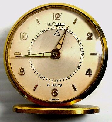 Le Coultre Alarm 8 Day Movement Desk Clock Swiss Made Running Gold & Green Color