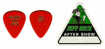 Guitar Pick- Jeff Beck - Real 2014 Tour Guitar Pick & Backstage Pass - Rare!