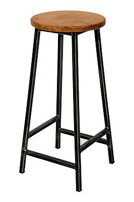 Metal Industrial Rustic Pub Bar Stool Kitchen Counter Stool with Oak Wood Seat