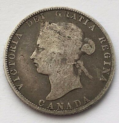 1874 H Canada Silver 25 Cents Victoria Coin Free Shipping