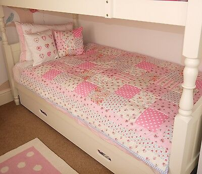 Handmade Uk Patchwork Quilt Cath Kidston Fabric Girls Bedroom Nursery Blanket