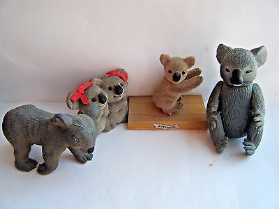 """4 Mixed KOALA BEAR JOEY 1 Moulded 1 Moveable Arms Legs 2 Fuzzy 1.25"""" to 3.5"""" NEW"""