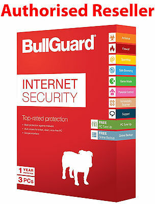SEALED BullGuard 2017 Internet Security 3 PCs Users 1 Year - Actual Item Posted