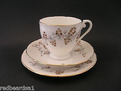 Royal Grafton Pine Cone Hand Painted Vintage Bone China Trio Cup Saucer Plate