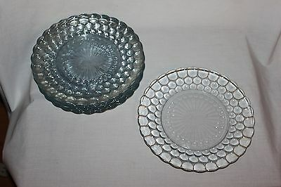 7 Vintage ANCHOR HOCKING Blue Glass  Bubble Dinner PLATES
