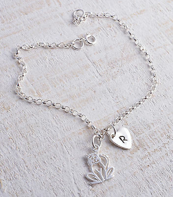 Sterling Silver Cat & Personalised Heart  Ankle Chain Bracelet Anklet 925