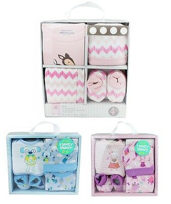 New Baby Girls Boys Gift Set 4 -5 Piece Outfit Newborn Baby Shower Present Xmas