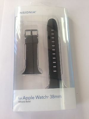 Insignia NS-AWB38BLK Silicone Band for Apple Watch 38mm - Black  NEW