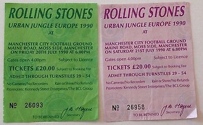 Rolling Stones tickets 20 and 21 July 1990 Uk Urban Jungle Europe - original